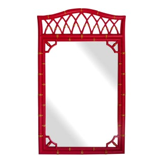 Vintage Coral Red Bamboo Style Mirror