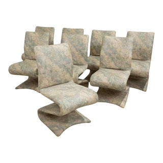 1970s Upholstered Gastone Rinaldi Style Z Chairs - Set of 8 For Sale