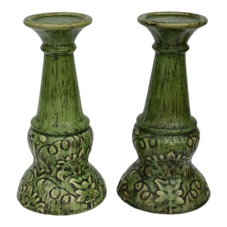 Extra Large Green Ceramic Candle Holders - a Pair For Sale