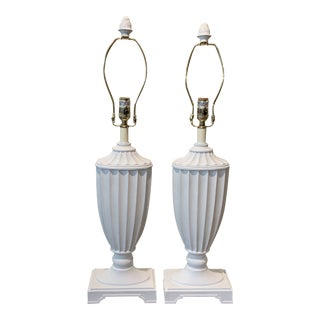Mid 20th Century White Fluted Classical Lamps For Sale