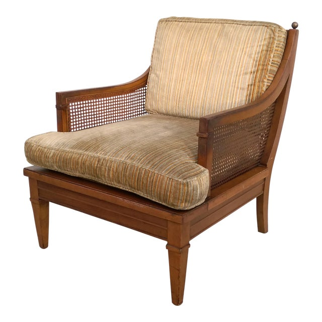 Vintage Mid Century Cane Back Lounge Chair - Image 1 of 8