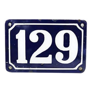 Vintage Large French Metal Street Number #129