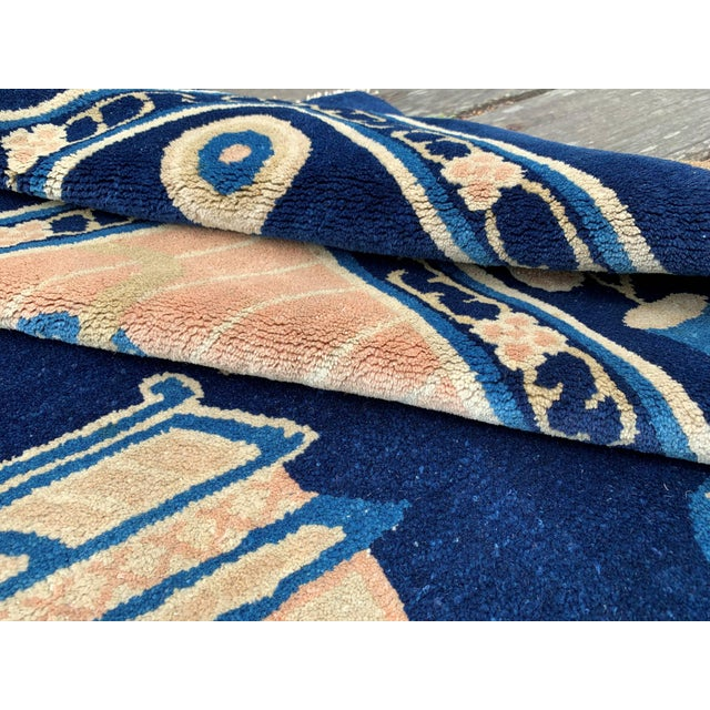 Antique 1910s Blue Chinese Pictorial Rug- 5′ × 8′ For Sale - Image 9 of 13