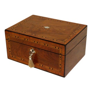 Large Antique Figured Walnut Jewelry Box, Lock & Key For Sale