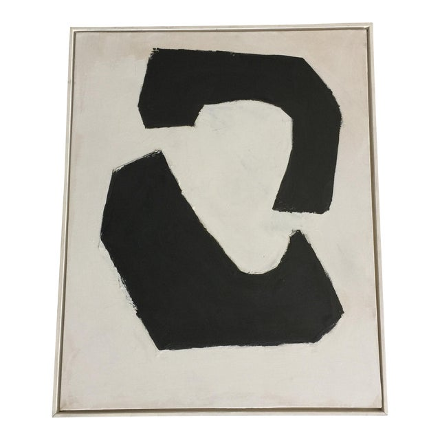 Black and White Acrylic Abstract Painting - Image 1 of 6