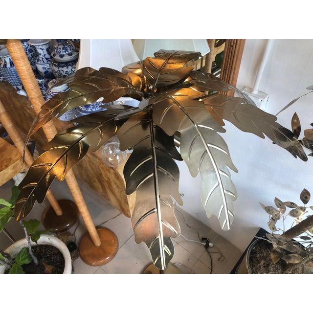 Art Deco Vintage Hollywood Regency Gold Brass Metal Palm Tree Leaf Frond Leaves Floor Lamp For Sale - Image 3 of 13