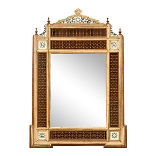 Syrian Bone Inlaid Carved Mirror For Sale