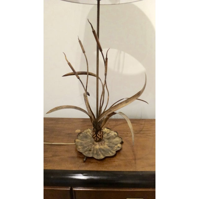 Gilt Cattail Reed Sculptural Table Lamp For Sale - Image 4 of 6