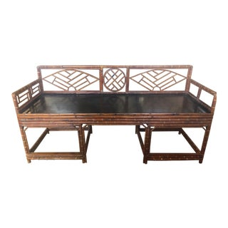 1920s Chippendale Bamboo Bench For Sale