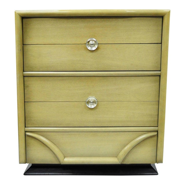 Vintage Tri-Bond Mid Century Modern Bone Dresser Chest Art Deco Gilbert Rohde Era For Sale