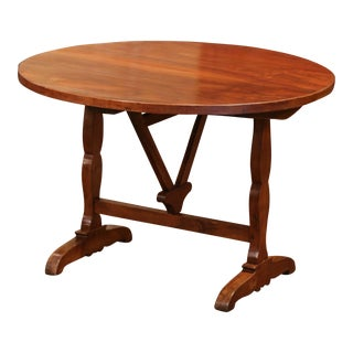 19th Century French Carved Walnut Tilt-Top Wine Tasting Table From Bordeaux For Sale