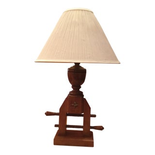 1970s Early American Tell City Maple Carpenter Clamp Lamp For Sale