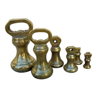Set Victorian English Brass Kitchen Weights For Sale