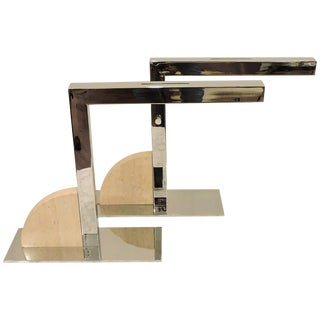 Mid-Century Modern Minimalist Chrome and Travertine Desk or Table Lamps - a Pair For Sale