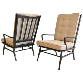 1950s Scandinavian Sculpted Ebonized High Back Lounge Chairs - a Pair