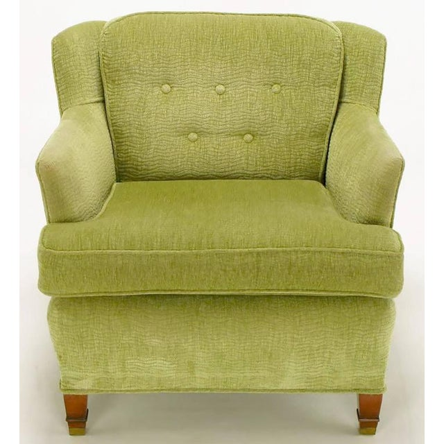 Pair of Pistachio Green Chenille Button-Tufted Low Barrel Back Wing Chairs - Image 3 of 9