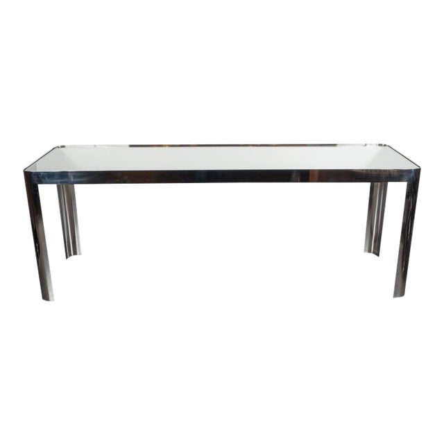 Mid-Century Modernist Console Table in Seamless Polished Chrome & Mirror by Pace For Sale