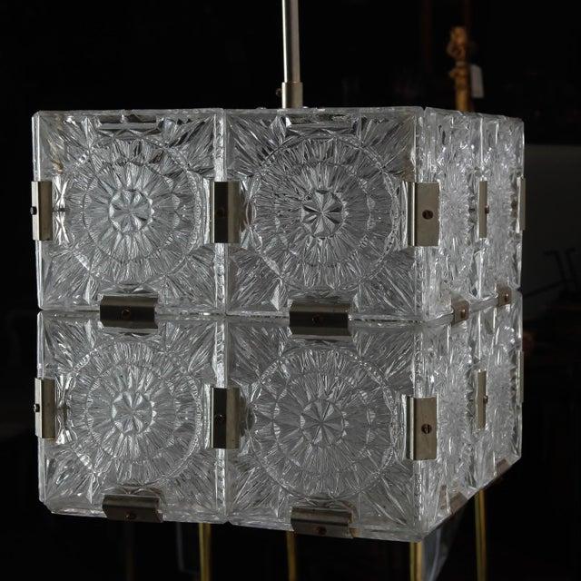 Mid Century Kalmar Glass Cube Pendant Light For Sale In Detroit - Image 6 of 8