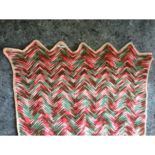 Hand Knitted Zig Zag Wool Throw - Image 4 of 5