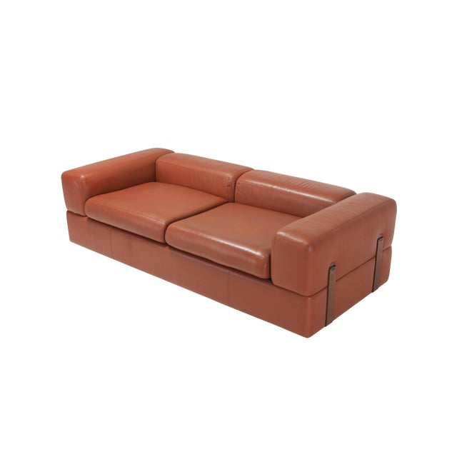 Minimalist Cognac Leather Sofa by Tito Agnoli for Cinova For Sale