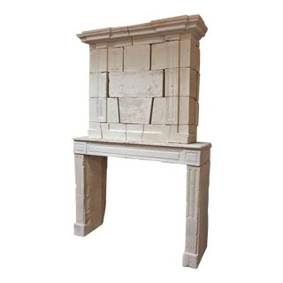 Louis XVI Antique Limestone Mantel