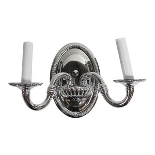 Late 20th Century Polished Nickel Waldorf Astoria Bathroom Wall Sconce For Sale
