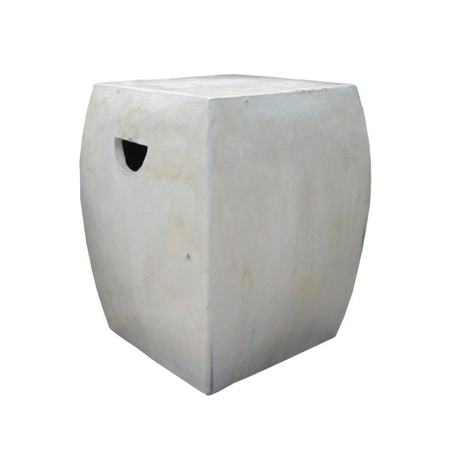 Chinese Off White Square Clay Ceramic Garden Stool - Image 5 of 7