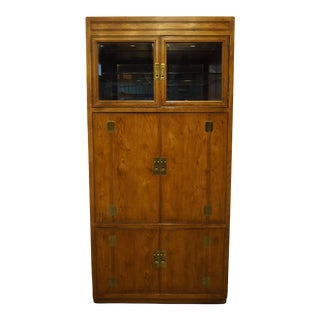 """Drexel Heritage Walnut Asian Inspired 40"""" Wall Unit / Media Cabinet 5601-60 6145 For Sale"""