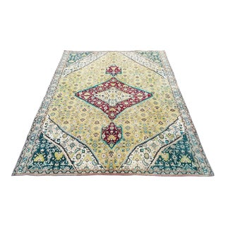 1960`s Turkish Handmade Oushak Rug-4′11″ × 6′11″ For Sale