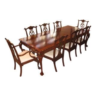 Henkel-Harris Mahogany Rectangular Table & Chairs - Set of 9
