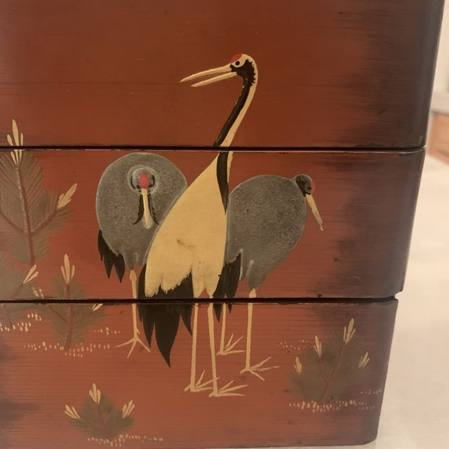 1940s Vintage Japanese Lacquer Stacking Bento Box with Cranes, C 1940s For Sale - Image 5 of 13