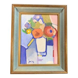 Mid Century Abstract Still Life Painting Signed Janis K For Sale