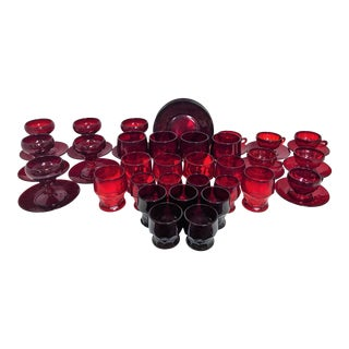 1960s Large Collection of Ruby Red Mosser Glass in the Georgian Pattern - Set of 49 For Sale