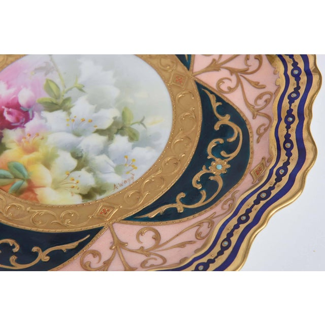 Ceramic Exquisite and Elaborate Cabinet or Display Plates Pair, Fine Art Gilt Encrusted For Sale - Image 7 of 9