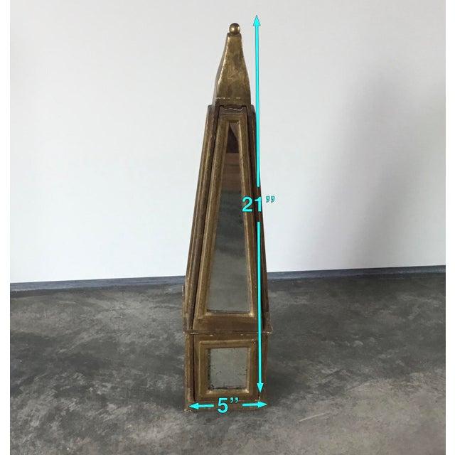 Metal Antiqued Gold Mirrored Obelisk For Sale - Image 7 of 8