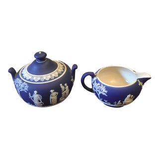 Antique Blue and White Wedgwood Cream & Sugar Set For Sale