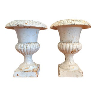 Classical Egg and Dart Petite Cast Iron Urns, a Pair For Sale