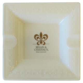 French White and Gold Porcelain Dish or Ashtray For Sale