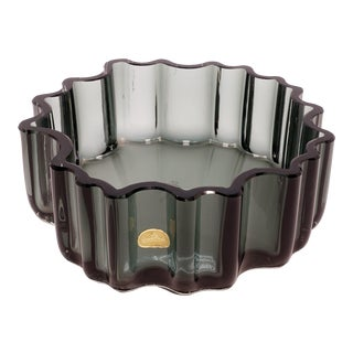 1960s Tapio Wirkkala Rosenthal Crystal Cogwheel Console Bowl For Sale