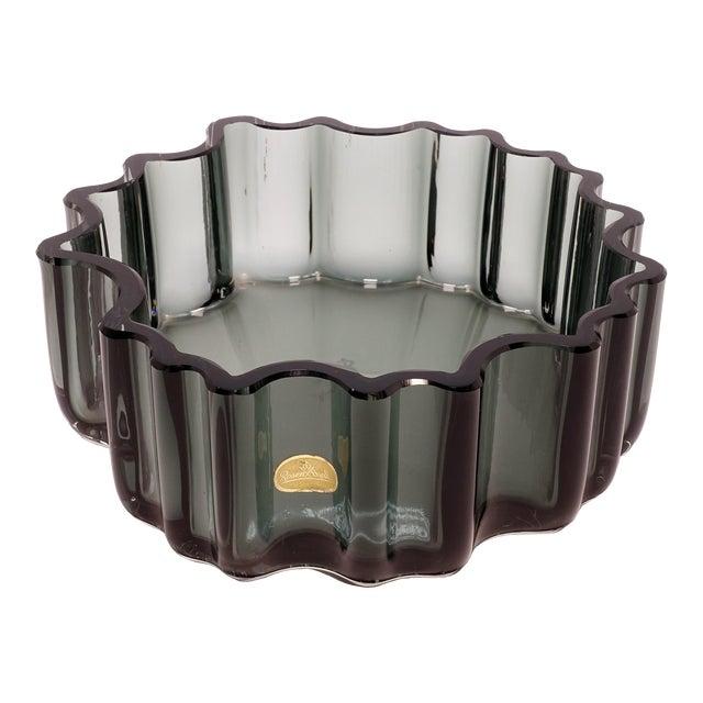 1960s Tapio Wirkkala Rosenthal Crystal Cogwheel Console Bowl For Sale