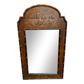 Monkey Motif Bamboo Style Mirror For Sale