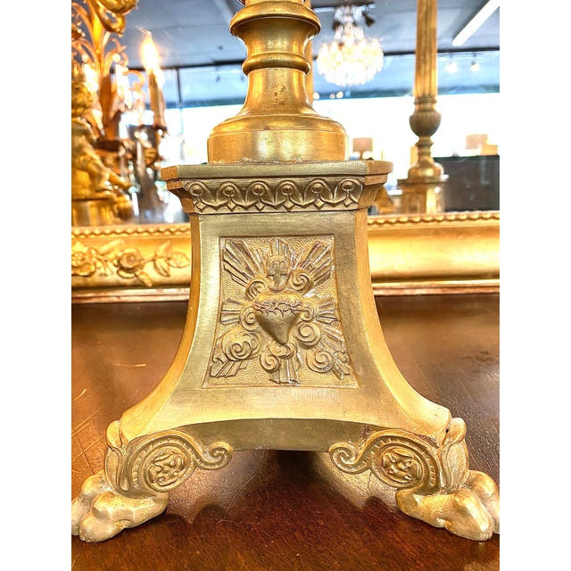 19th. Century Brass Cathedral Candlesticks - a Pair For Sale - Image 4 of 8
