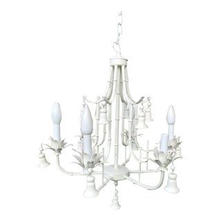 1970s Chinoiserie Six Light 13 Bell White Faux Bamboo Pagoda Chandelier For Sale