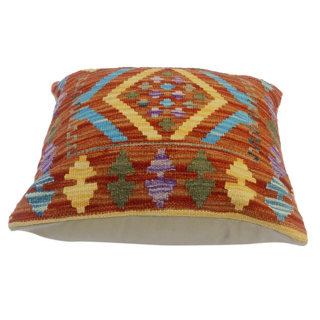 "Asian Chau Rust/Gold Hand-Woven Kilim Throw Pillow(18""x18"") For Sale - Image 3 of 6"