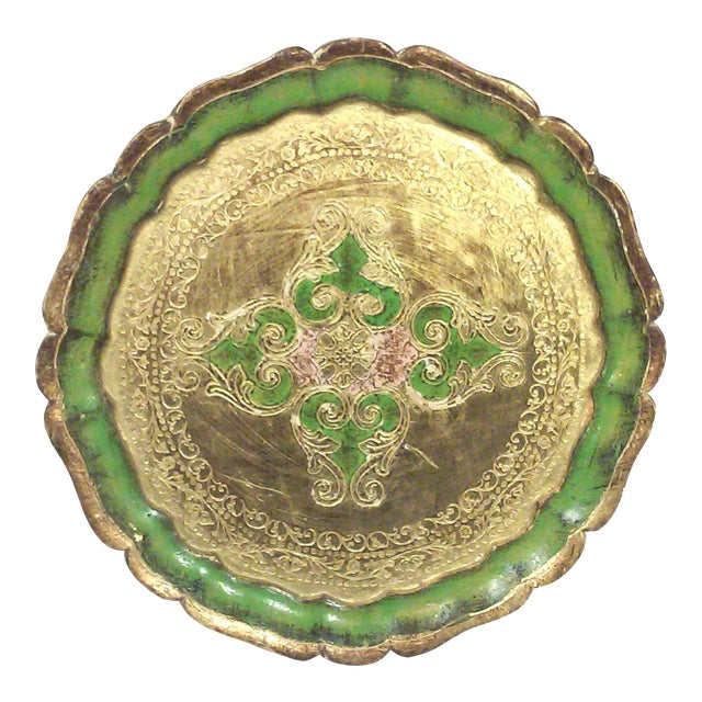 Florentine Green and Gold Leaf Decorative Tray For Sale