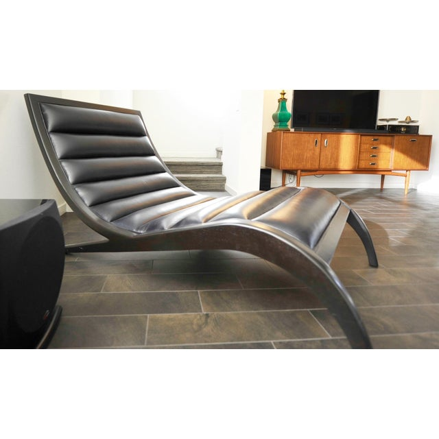 Cerused Walnut & Navy Leather Chaise - Image 2 of 4