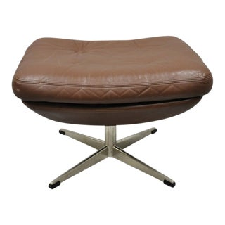Mid Century Modern Brown Leather Swivel Ottoman Footstool For Sale