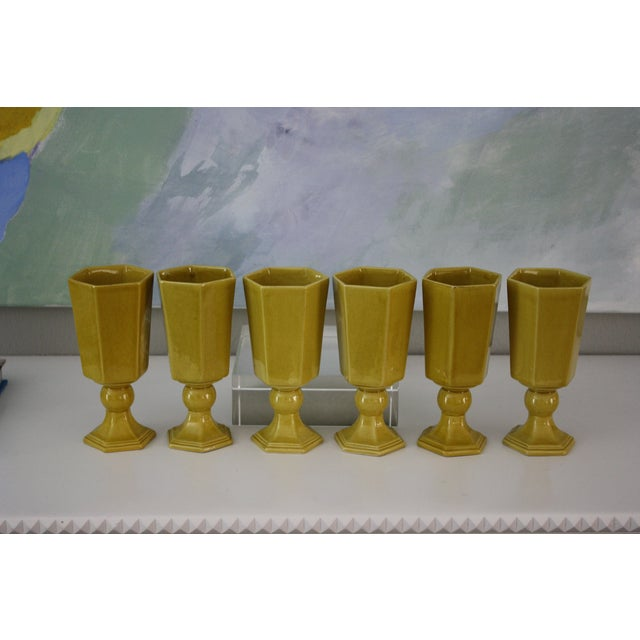 Vintage Yellow Ceramic Water/Wine Glasses - S/6 - Image 2 of 5