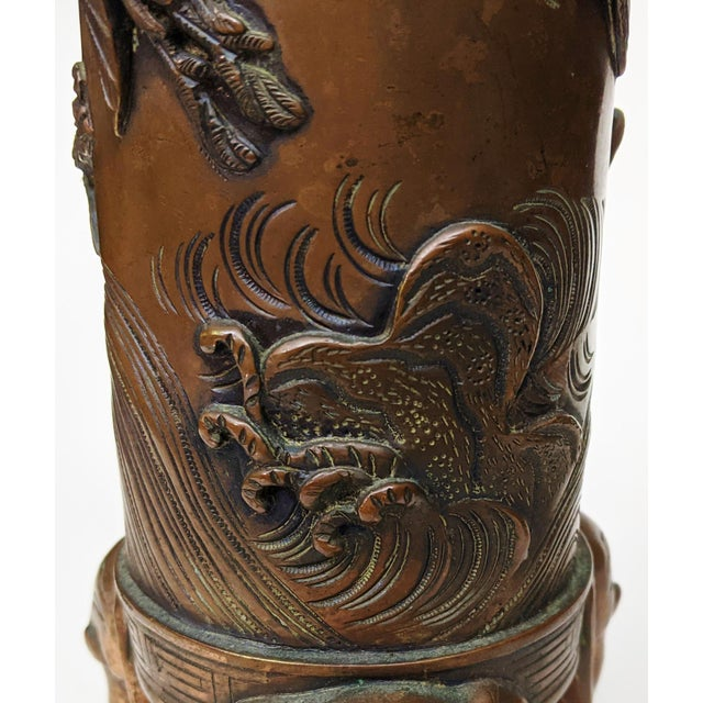 Early 20th Century Asian Antique Chinese Elephant Footed & Heron Bird Bronze Vases - a Pair For Sale - Image 9 of 13