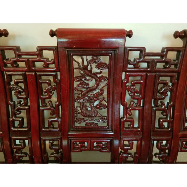 Vintage Mid Century Asian Carved Rosewood Settee For Sale In Phoenix - Image 6 of 12